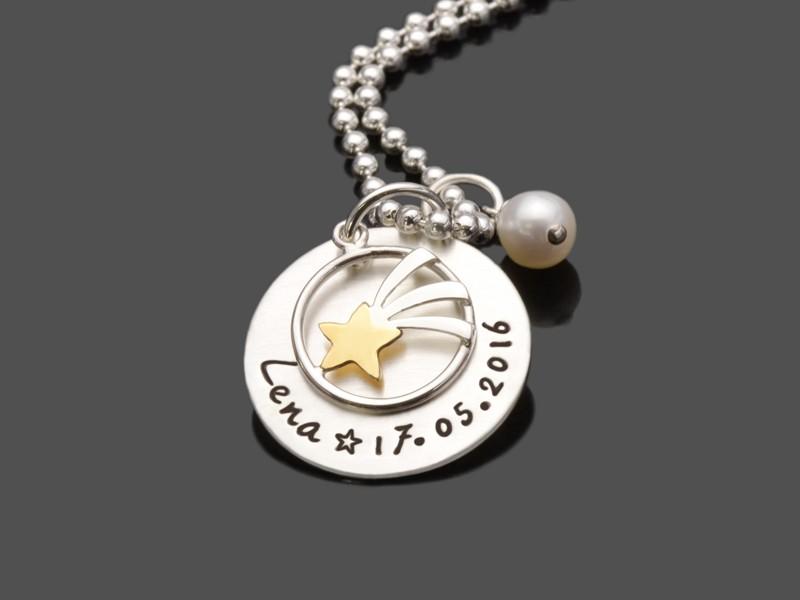 Kinderschmuck SHOOTING STAR 925 Silberkette Gravur Sternschnuppe