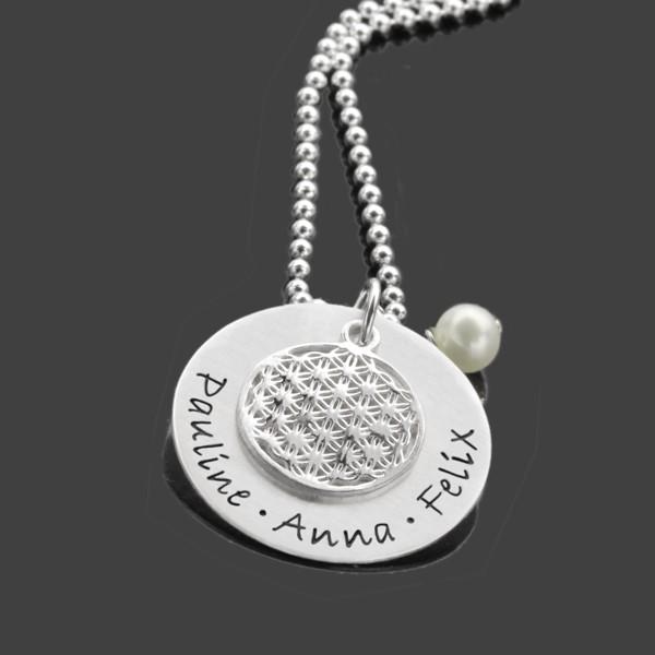 Namenskette Gravur BLUME DES LEBENS LARGE 925 Silber Familienkette