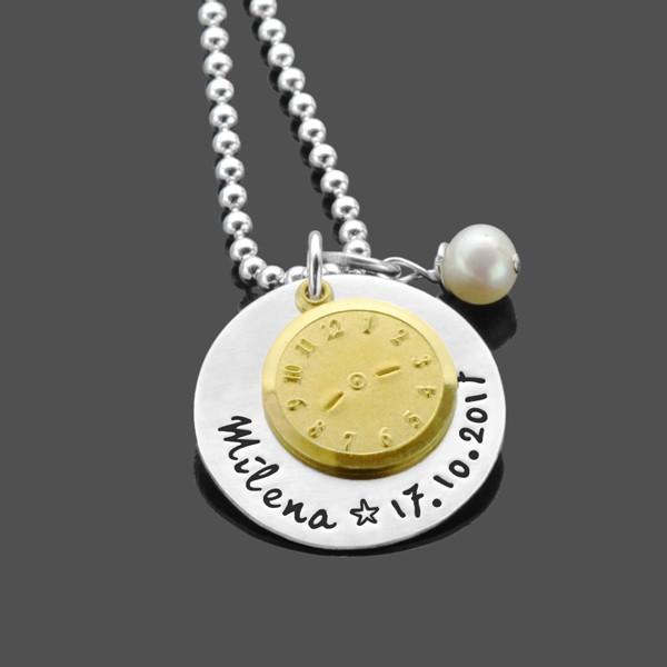 Taufkette-Gravur-925-Silberkette-Taufuhr-Taufschmuck
