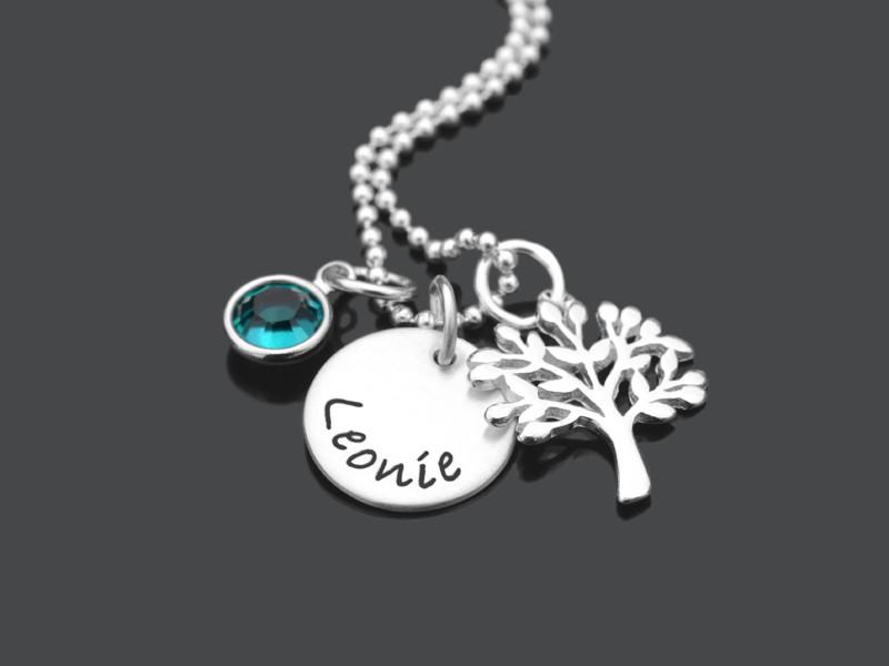 VERWURZELT 925 Silberkette zur Taufe mit Namensgravur und Taufbaum