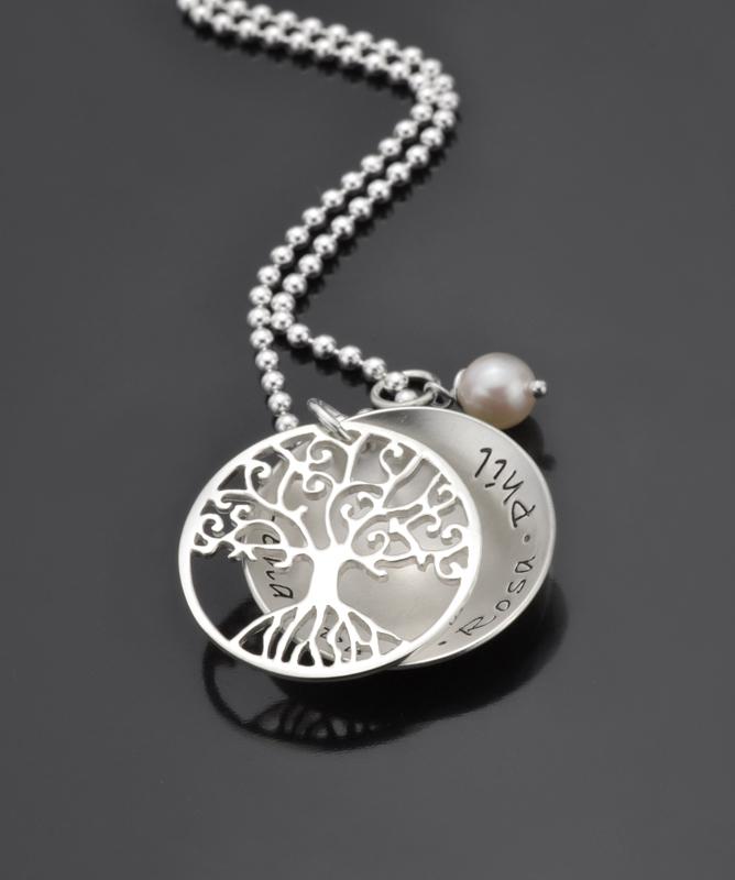 Lebensbaum Kette Tree Of Love Namenskette Silber Anh 228 Nger