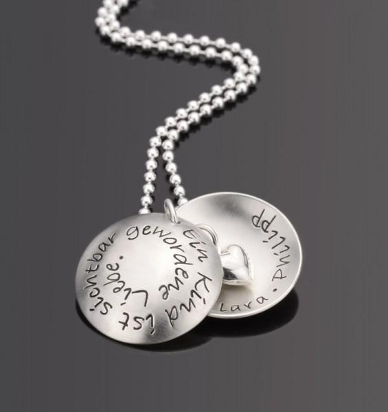 LIEBE 925 Silberkette mit Gravur, Textschmuck mit Wunschtext