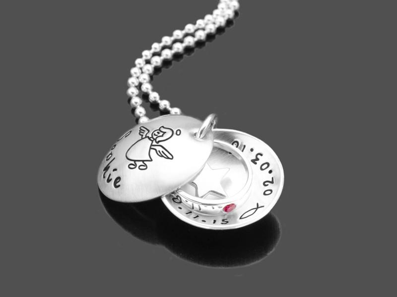 SCHUTZENGELCHEN STERN 925 Silber Taufkette mit Gravur Taufschmuck
