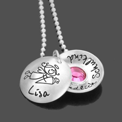 Schutzengelkette Kette mit Namen Geburtsstein Geschenk zur Taufe rosé vergoldet