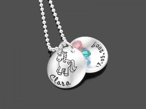 Kinderkette EINHORN REGENBOGEN 925 Silber Namenskette Gravur Unicorn