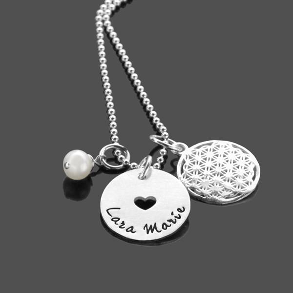 Kinderkette HERZCHEN Blume des Lebens 925 Silber Kette mit Gravur personalisiert