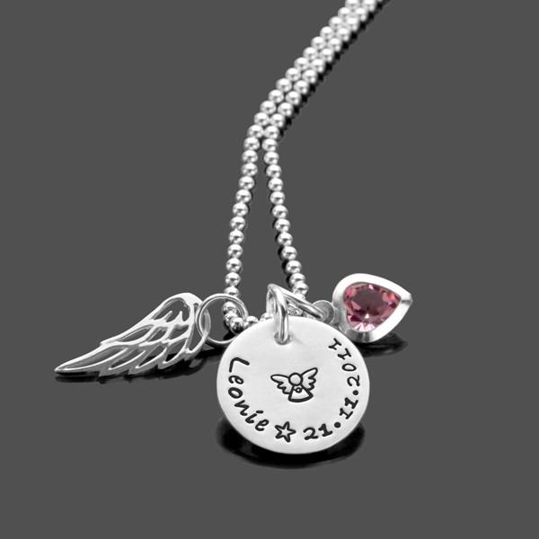 Taufkette ENGELSGLEICH 925 Silber mit Schutzengel und Gravur