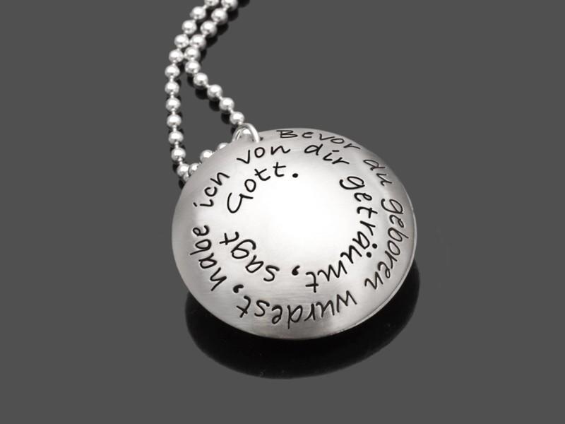 Geburtskette DREAM 925 Silberkette Textschmuck Geburt