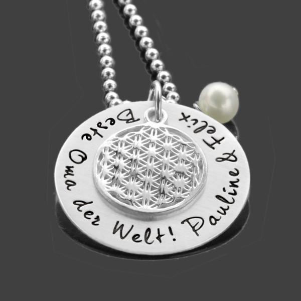 Namenskette Gravur BESTE OMA DER WELT 925 Silber Kette Familienkette