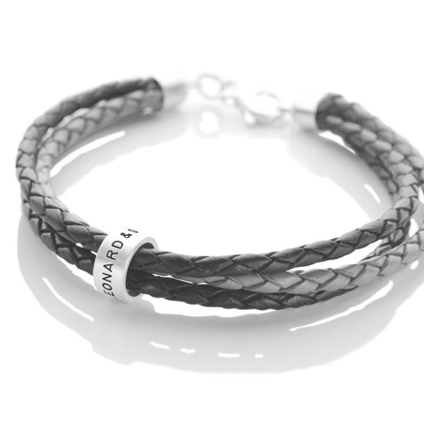 Armband für Herren mit Gravur Silber und Leder