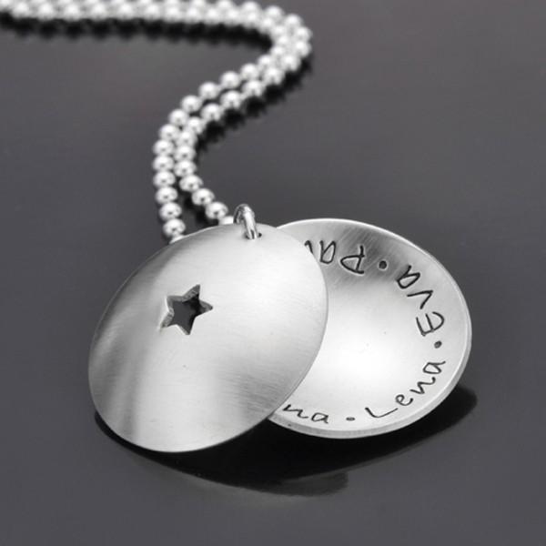 MY STARS 925 Silber Medaillon, Textschmuck, Anhänger mit Name, Gravur