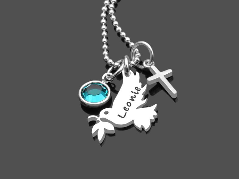 Taufkette FRIEDENSTAUBE KREUZ 925 Silber Namenskette Taufe Gravur