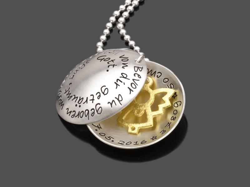 Geburtskette DREAM 925 Silberkette Textschmuck zur Geburt