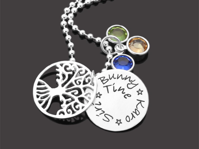 Kette LEBENSBAUM FAMILIE 925 Silberkette mit Namen / Gravur