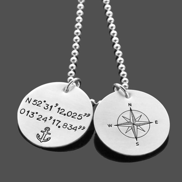 Herrenkette mit Koordinaten GPS 2.0 Silberkette mit Kompass Männerkette