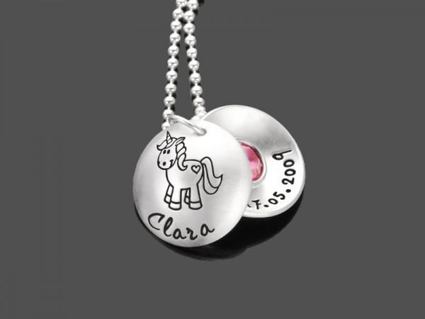 Kinderkette EINHORN 925 Silberkette Namenskette Gravur Pferd Unicorn