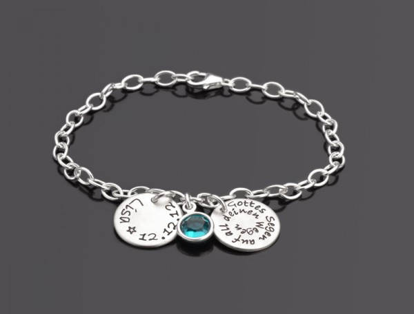 GOTTES SEGEN Armband mit Gravur, Name, Datum, Taufarmband, 925 Silber