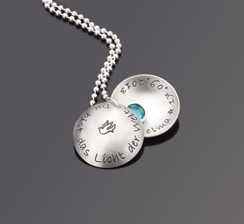 LICHT DER WELT 925 Silber Taufkette, Babyschmuck mit Wunschtext, Taufe