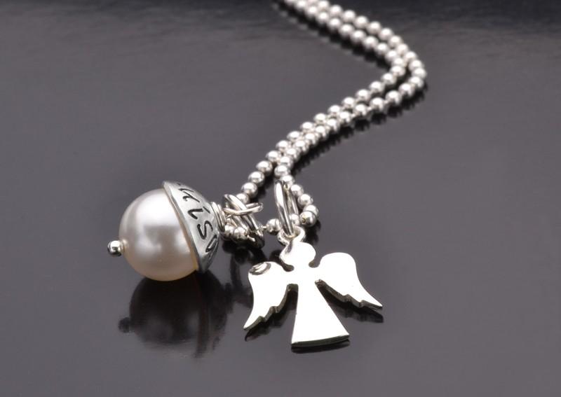 LYHO ANGEL Kette mit graviertem Anhänger und Schutzengel 925 Silber