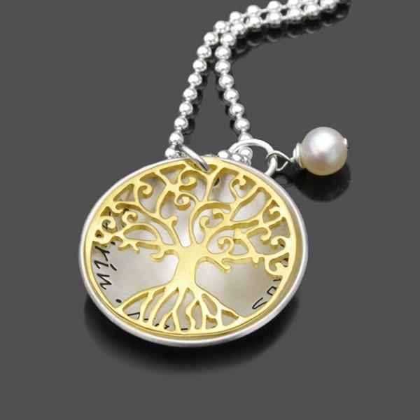 Namenskette mit Gravur und Lebensbaum