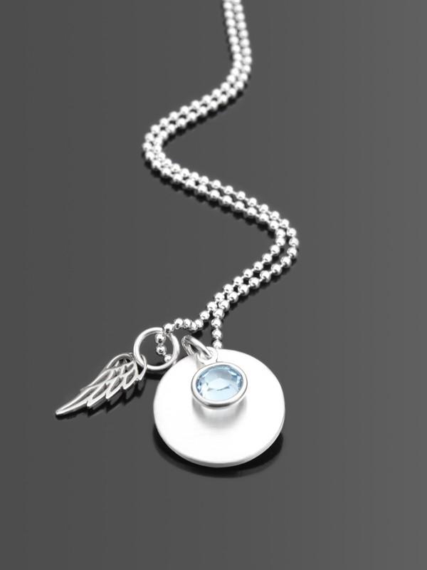 PURE Namenskette mit Gravur und Flügel, 925 Silber