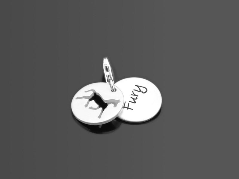 MEIN PFERD 925 Silber Charm mit Namensgravur, Textschmuck