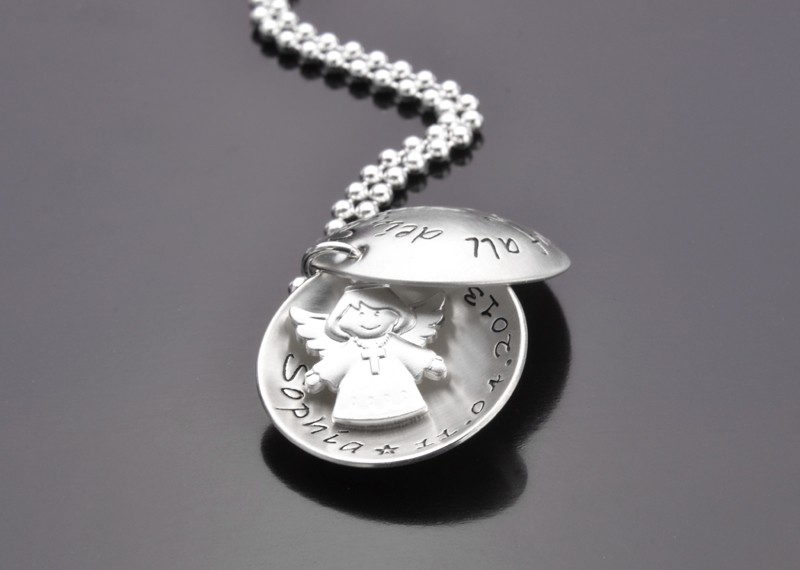 GOTTES SEGEN 925 Silbermedaillon mit Wunschtext, Engelsanhänger zur Taufe