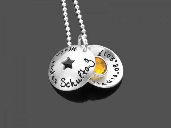 Namenskette MEIN 1.SCHULTAG 925 Silberkette mit Gravur zur Einschulung