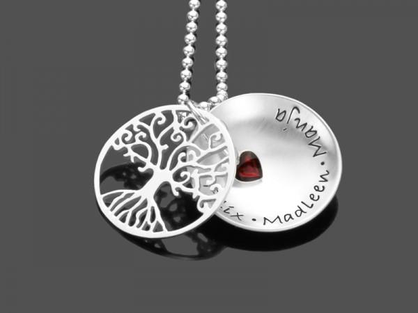 Namenskette TREE OF LOVE RED HEART 925 Silberkette mit Gravur