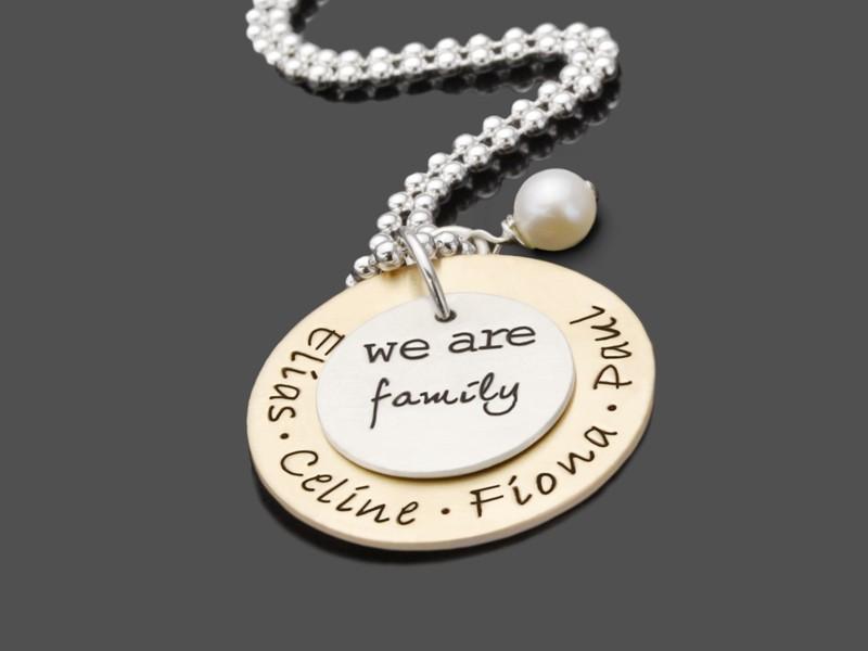 Familienkette OUR FAMILY GOLD 925 Silberschmuck mit Gravur