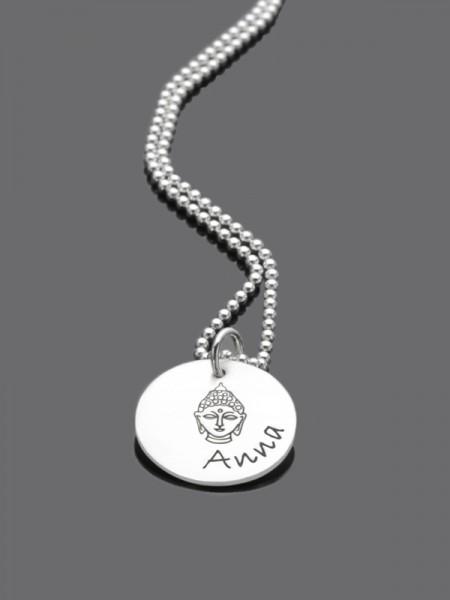 BUDDHA 925 Silber Kette mit Name, Gravur, Textschmuck