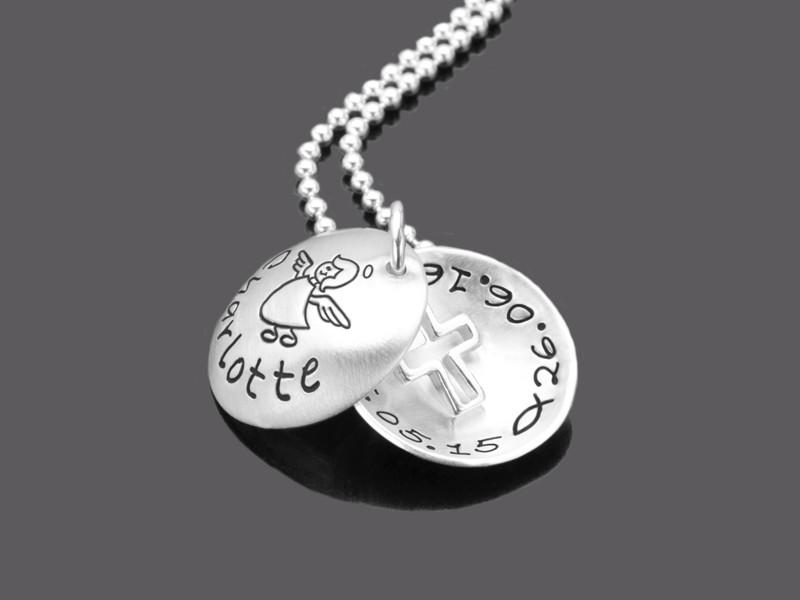 Taufkette Kreuz HOLY Taufschmuck mit Gravur