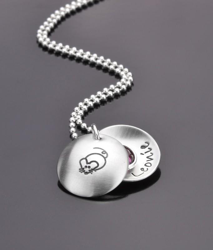 MAUSERL 925 Silber Kindermedaillon, Silberschmuck für Kinder mit Gravur