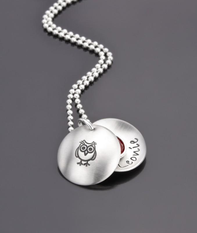LITTLE OWL 925 Silber Kindermedaillon