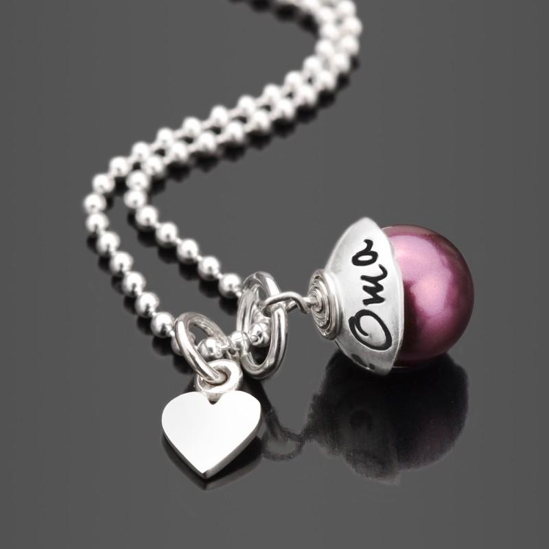 Silberkette mit Perle und Gravur für Oma