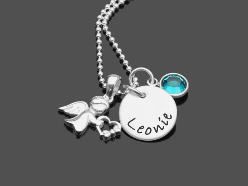 Taufkette HERZENGELCHEN 925 Silber Kinderkette mit Gravur Taufe Engel
