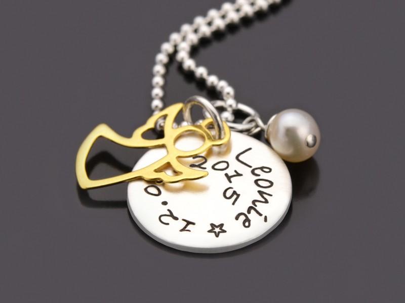 GOLDENGEL 925 Taufkette mit Namensgravur Taufschmuck Wunschtext