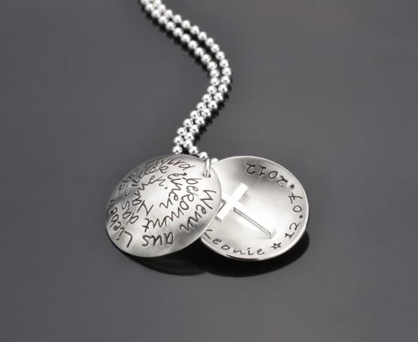 AUS LIEBE 925 Silber Medaillon mit Kreuzanhänger, Namenskette zur Taufe