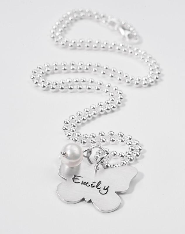 BUTTERFLY 925 Silberkette, Kinderschmuck mit Name, Gravur