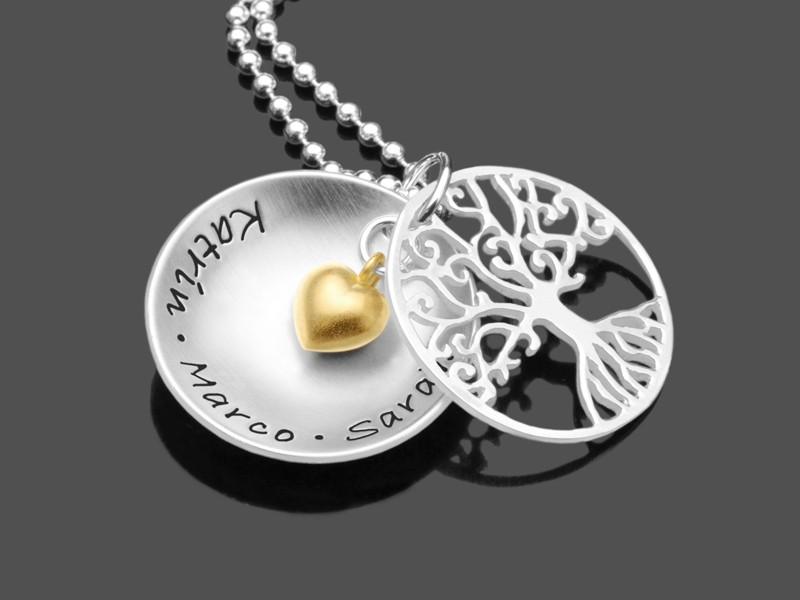 Namenskette TREE OF LOVE HEART 925 Silberkette mit Gravur Wunschtext