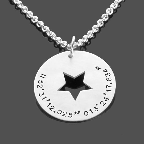 Herrenkette-mit-Koordinate-fuer-Maenner-Silber