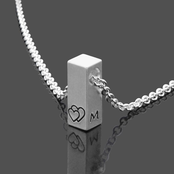 Namenskette SHORTY 925 Sterling Silber massiver Silberbarren mit Initialen