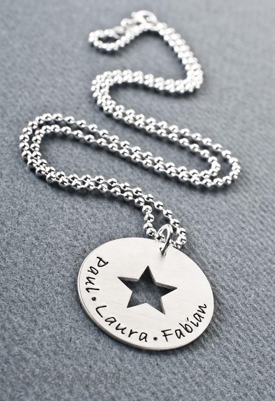 MY STARS 925 Silberschmuck mit Gravur Namenskette Frauen Wunschtext