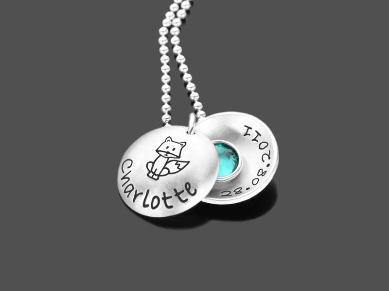 Kinderkette SCHLAUFUCHS 925 Silber Namenskette Gravur Kinderschmuck