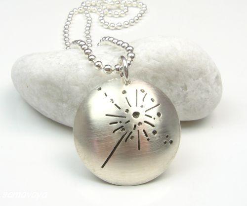 WÜNSCH DIR WAS 925 Silber Wunsch-Medaillon, Silberkette mit guten Wünschen