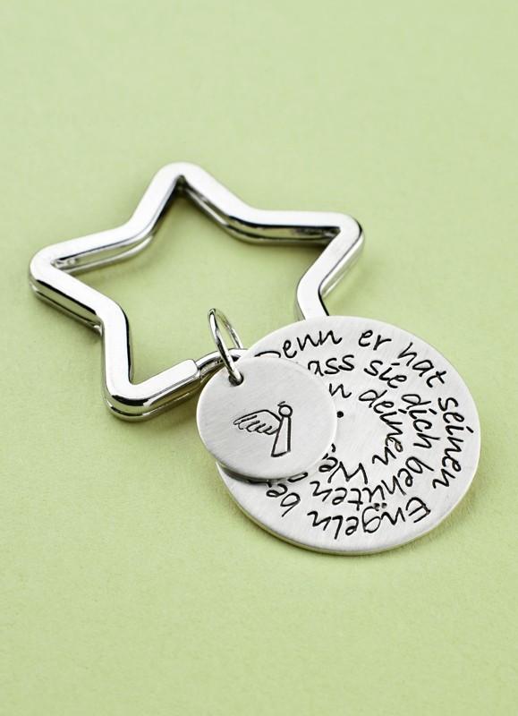 BLESSED 925er Silber Schlüsselanhänger mit Wunschtext