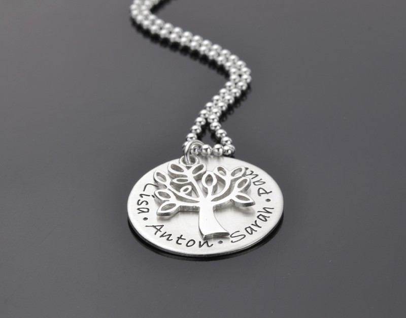 Namenskette Lebensbaum TREE OF LIFE 925 Silberkette mit Gravur