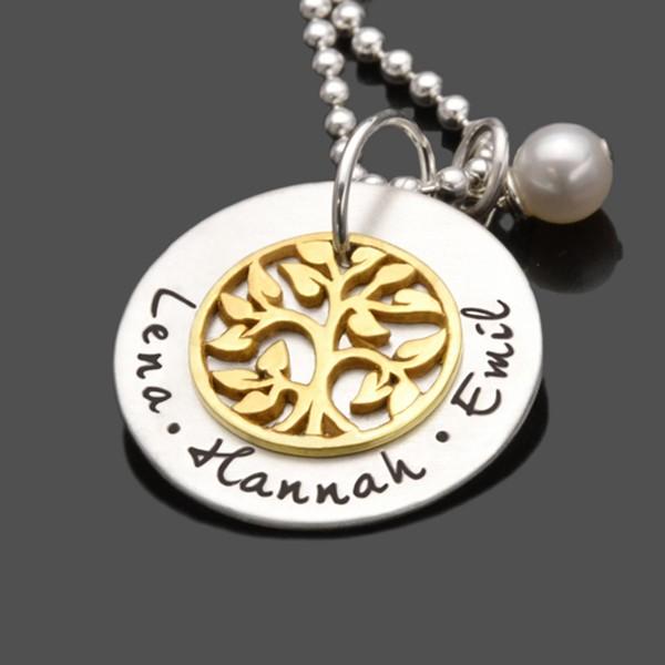 Familienkette mit Lebensbaum gold
