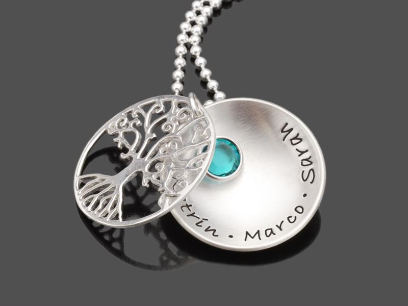 Lebensbaum Kette Tree Of Love Crystal Namenskette Silber