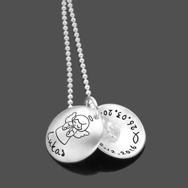 Taufkette-Namenskette-925-Silberkette-Kinderkette-Gravur-